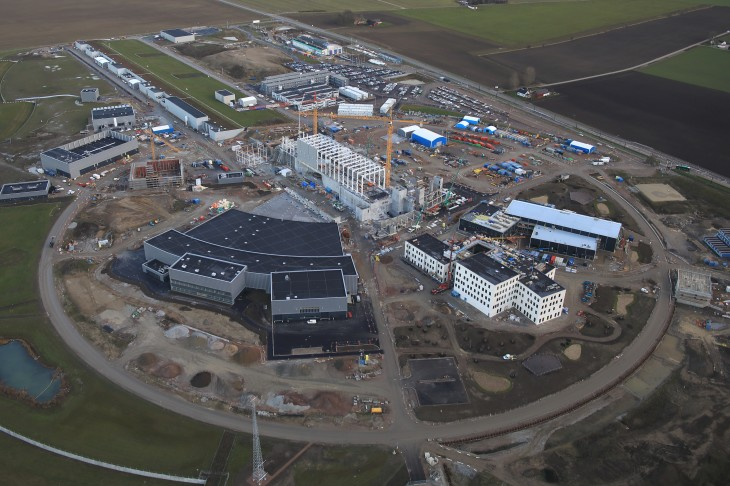 Aerial view of the European Spallation Neutron Source, which is currently being built in southern Sweden.