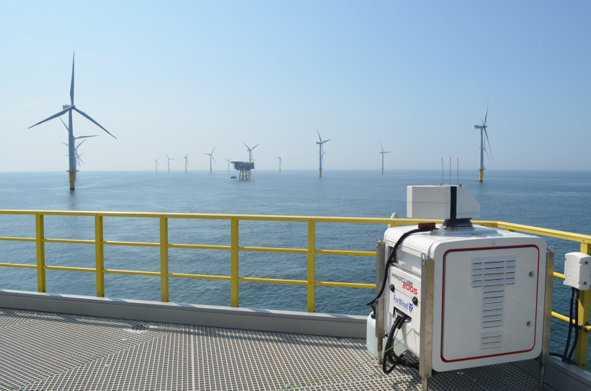 You can see an offshore wind farm and the device stationary lidar measurement