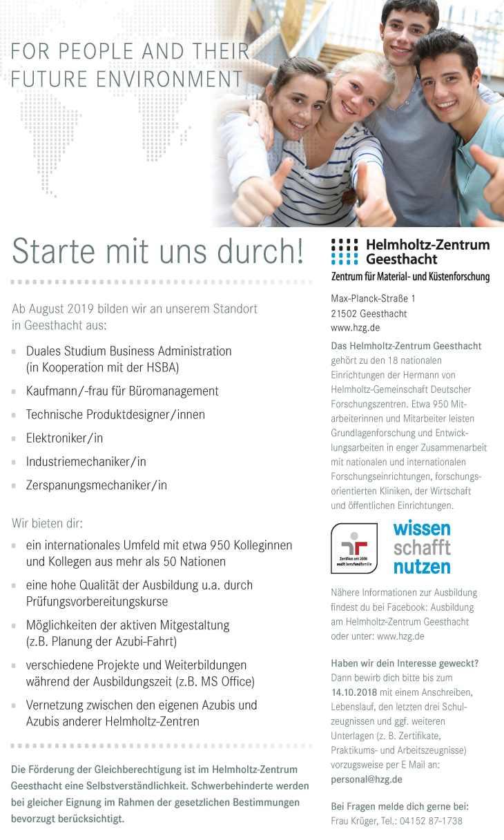 Ausbildungsangebote Am Helmholtz Zentrum Geesthacht