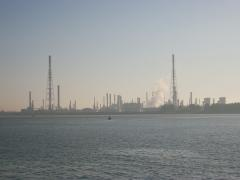 "Industrial area at the river ""Schelde"" near Antwerpen"
