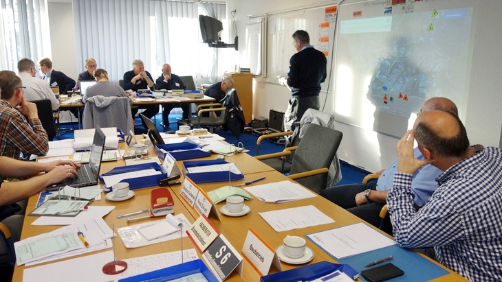 Participants of a civil protection exercise in Emden