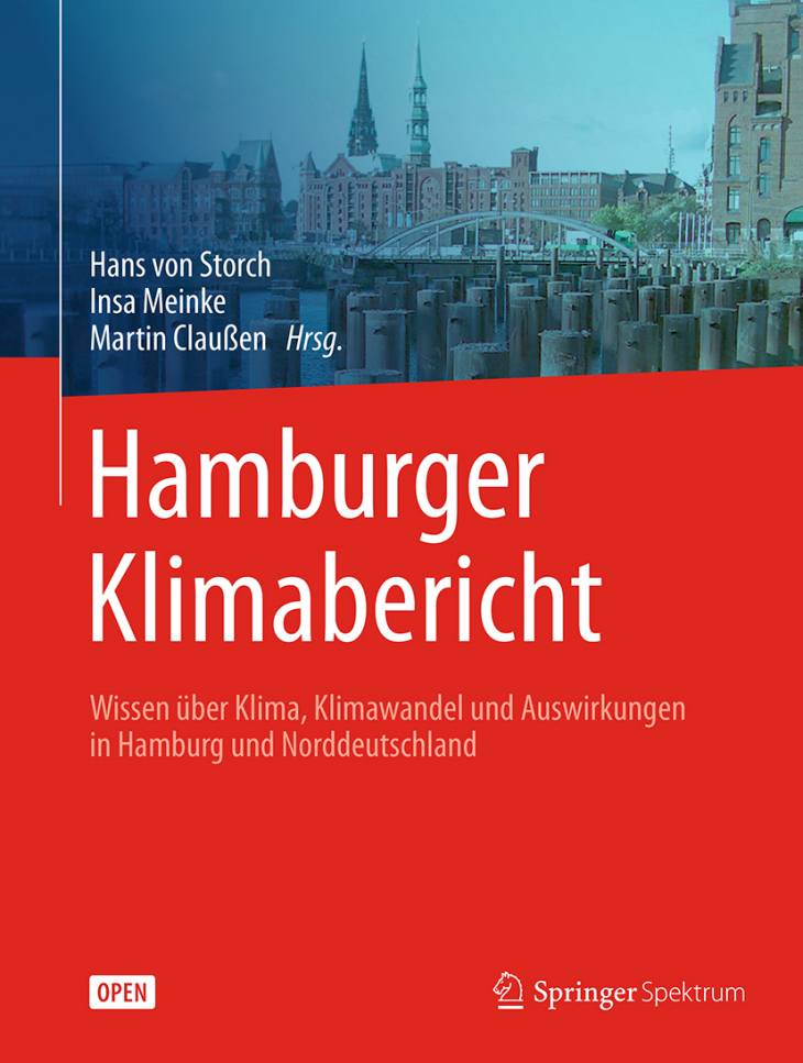 Cover Hamburg climate report. Knowledge about climate, climate change and impacts in Hamburg and Northern Germany. Ed.: Storch, Meinke, Claußen