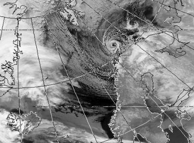 Satellite picture of a polar low over the north of Scandinavia (Copyright: University of Dundee).