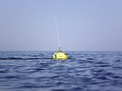 A measuring buoy of the GKSS Research Cente in the north sea.