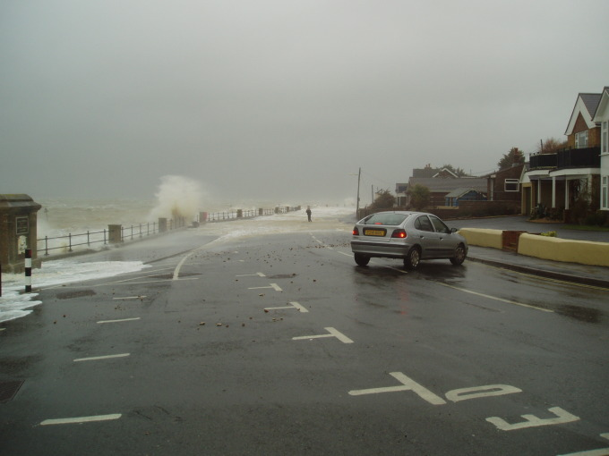 Flooding at Gurnard on the northern shore of the Isle of Wight, UK during a storm surge on 18 January 2007. The coast road to Cowes was closed for 2 or 3 hours over the high water period and a bus became trapped and had to be towed out.