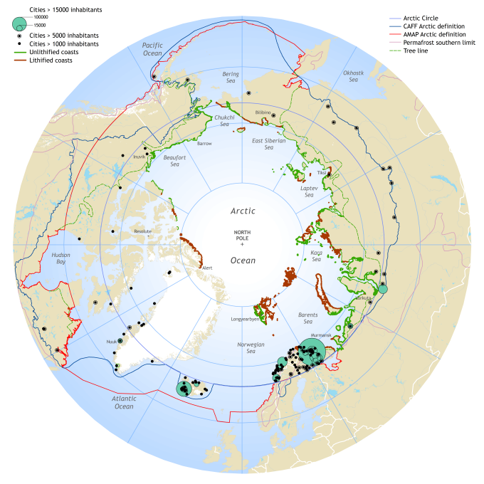 A greater part of the arctic coasts are made of unlithified sediments, prone to erosion upon contact with incoming waves. Map by Hugues Lantuit, Alfred Wegener Institute.