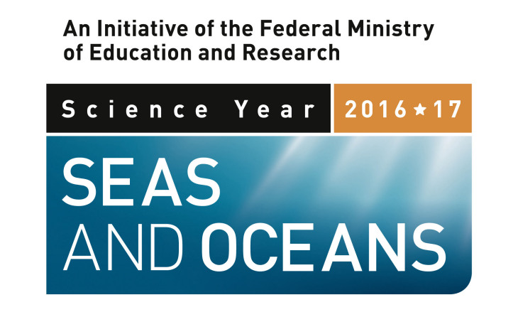 Logo Science Year 2016*17 Seas and Oceans. An initiative of the Federal Ministry of Education and Research