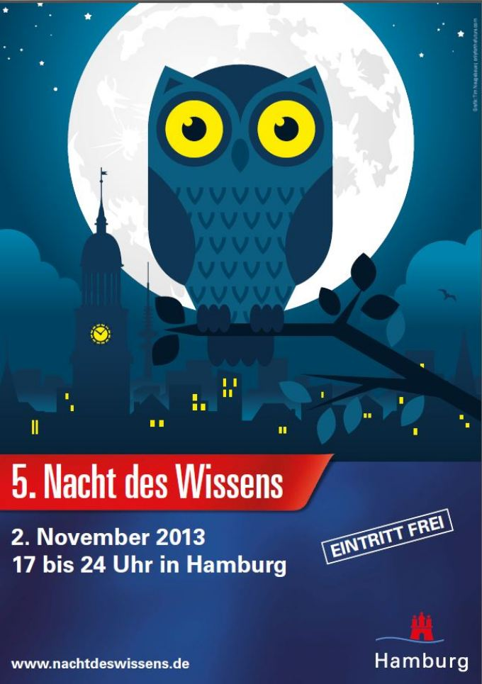 Poster 5th Night of Knowledge November 2, 2013, 5 to 12 pm in Hamburg Free admission, www.nachtdeswissens.de