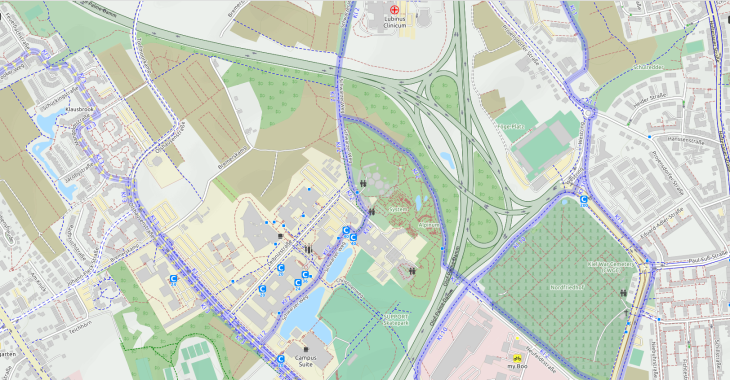 OpenCycleMap Fahrradroute zum Molecular Imaging North Competence Center (MOIN CC)