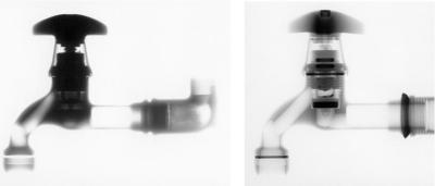 In contrast to X-rays (left), neutrons (right) reveal more details in the radiographic picture.